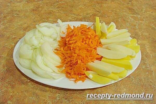 лук, картошка и морковь для гречневого супа